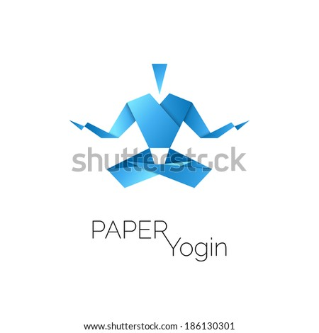 man in origami symbol  lotus