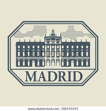 stamp or label with word madrid