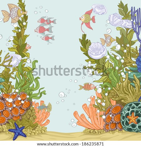 coral reef illustration with