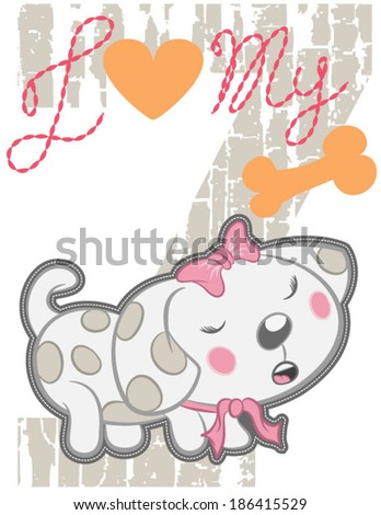 vector cute dog with bone and