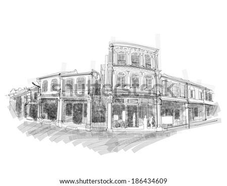 vector malacca street sketching