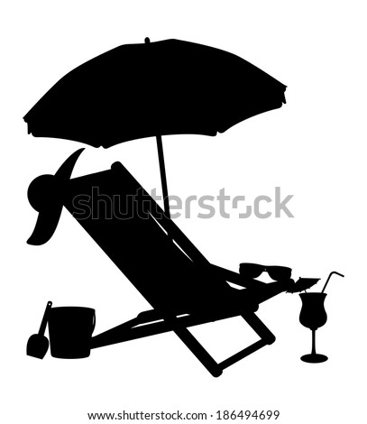 silhouette of beach chairs and