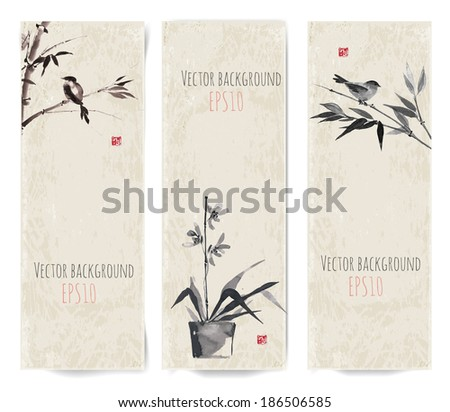 banners with bamboo  birds and