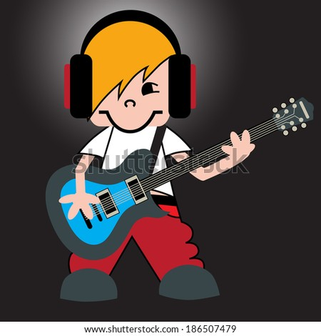 cartoon guitarist headphones