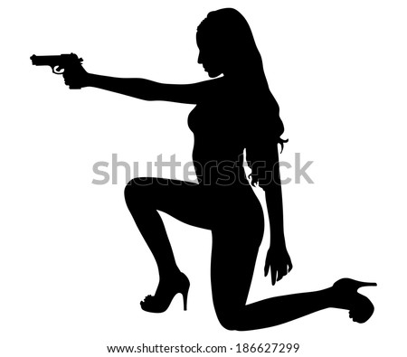 girl shooting  vector