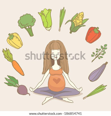 vector yoga pregnant woman in