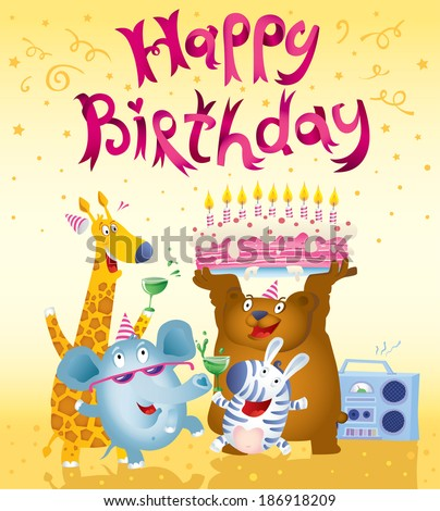 Cute cartoon style birthday card free vector download 39325 free cute cartoon style birthday card free vector download 39325 free vector for commercial use format ai eps cdr svg vector illustration graphic art bookmarktalkfo