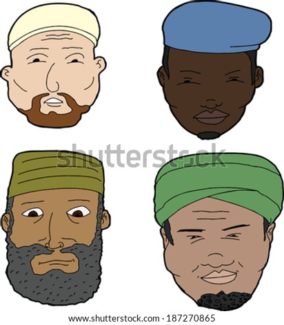 diverse set of bearded muslim