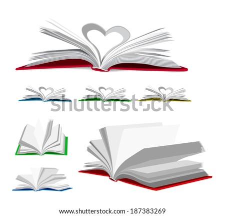 open book vector set
