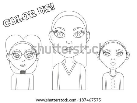 set of 3 isolated female