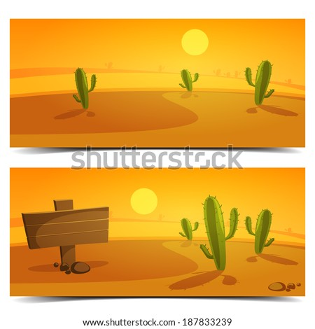 cartoon desert landscape banner