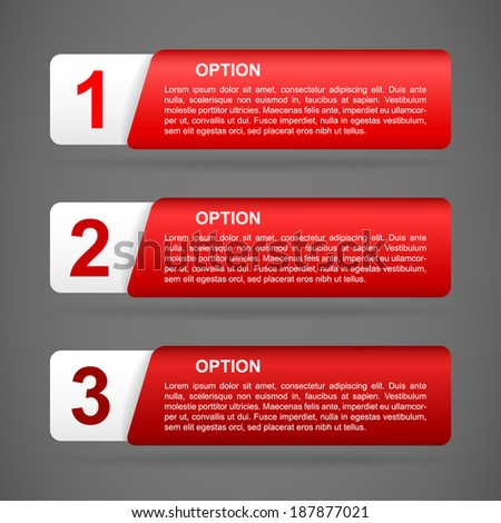 vector red paper option labels