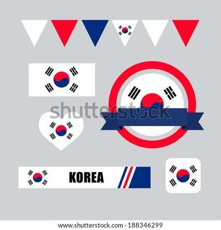 korea flag  banner and icon