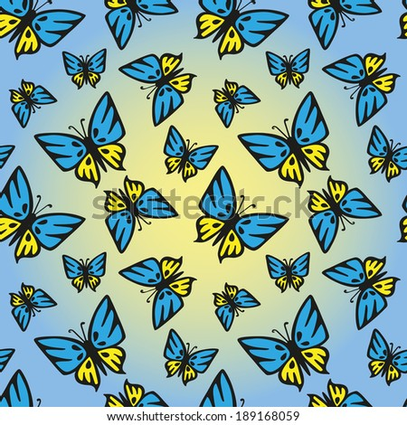 butterfly with yellow blue