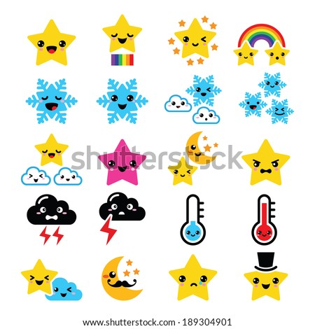 cute weather kawaii icons  star