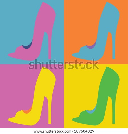pop art  style woman shoes