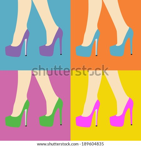 pop art style woman legs