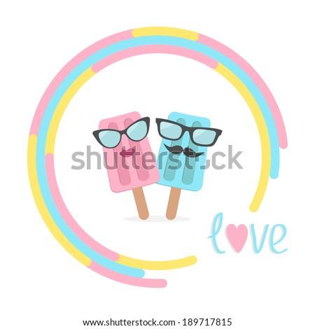 ice cream couple with lips