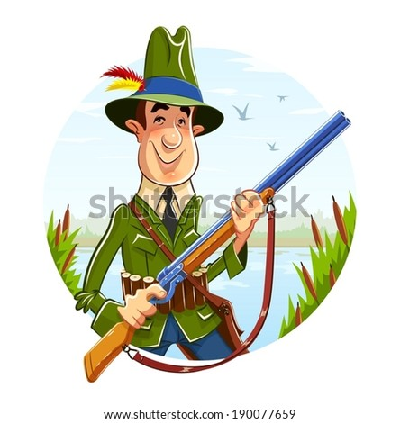 hunter man with rifle on river