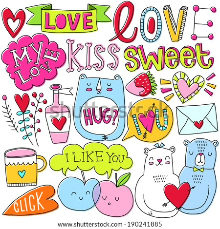 romantic vector set love kiss