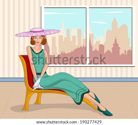 retro lady sitting on couch  in