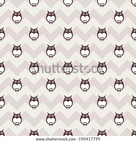 owls vector seamless pattern