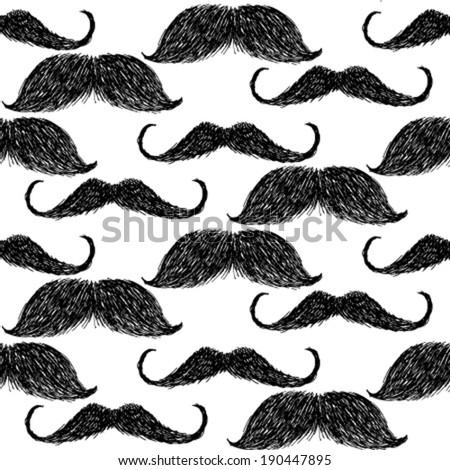 sketch mustache  vector vintage