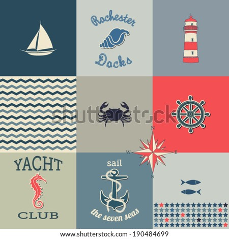 nautical icons poster   poster