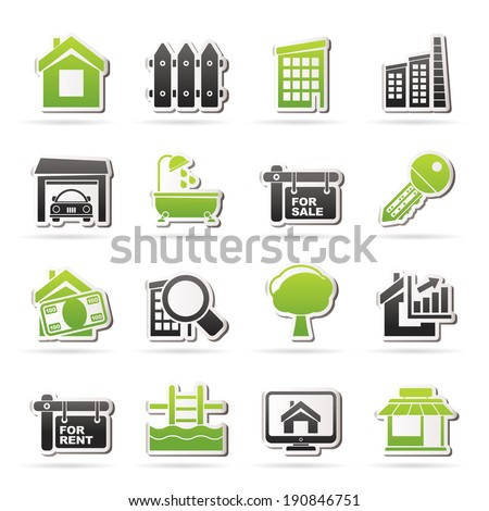 real estate icons   vector icon