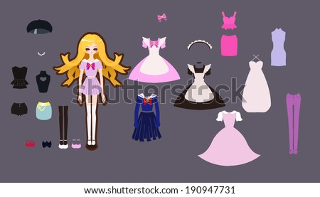 paper doll outfit set