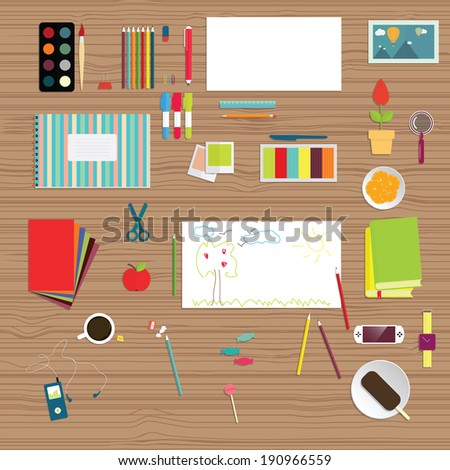 set of flat educational objects