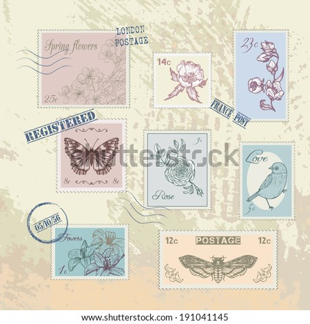 set of vintage post stamps