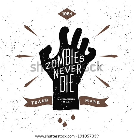 vintage label with zombies