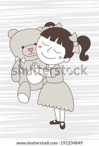 little girl with bear toy