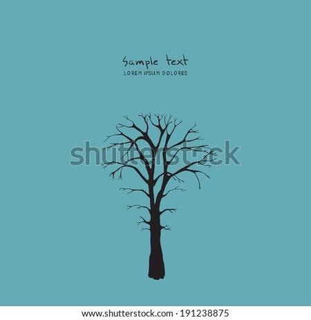 vector winter or dead tree