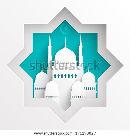 vector 3d paper mosque