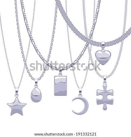 set of silver chains with