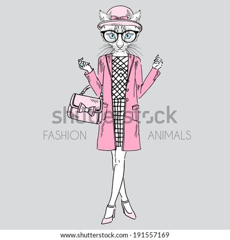 fashion illustration of cat