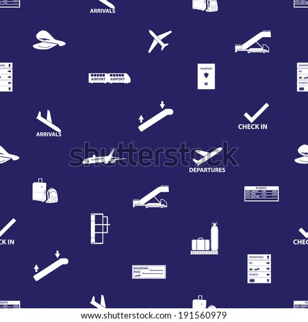 airport icons blue and white