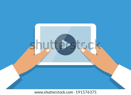 human hand holds tablet pc with