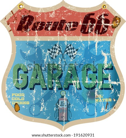 route 66 garage sign bleached