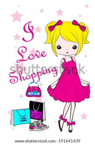 shopping girl fashion kids t