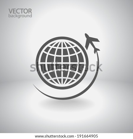 globe with airplane icon
