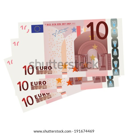 vector drawing of a 3x 10 euro