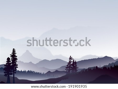 abstract landscape of blue