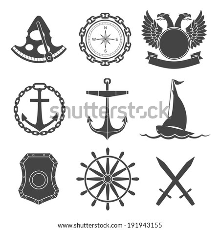 vintage nautical labels  icons