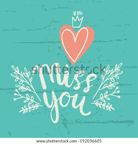 hand drawn miss you card