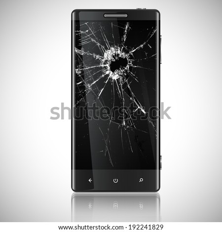 broken mobile phone  vector