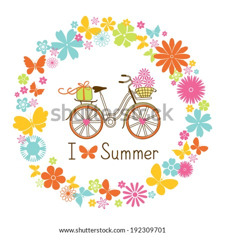 i love summer card with wreath