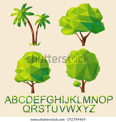 green tree set with font formed